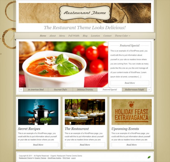 Restaurant Theme by Organic Themes